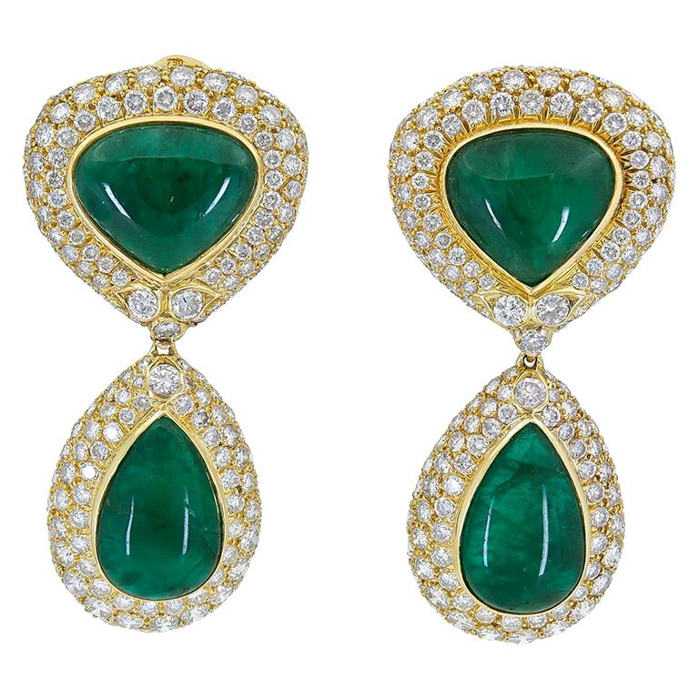 53.25 Carat Cabochon Emerald and Diamond Detachable Dangle Drop Earrings
