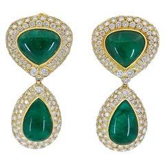 53.25 Carat Cabochon Emerald and Diamond Detachable Dangle Drop Earrings