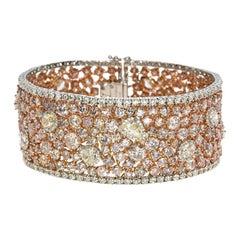 53.25 Carat Natural Pink and Yellow Diamond Bracelet