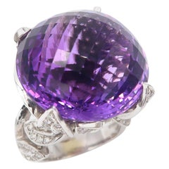 53.26 Carat Special Cut Amethyst with Diamond Pavé Olive Leaves Detail Gold Ring