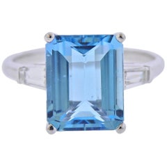 5.33 Carat Aquamarine Classic Diamond Platinum Ring