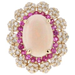 5.33 Carat Opal Pink Sapphire and Diamond 14 Karat Yellow Gold Cocktail Ring