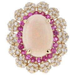 5.33 Carat Opal Pink Sapphire and Diamond 14 Karat Yellow Gold Cocktail Ring
