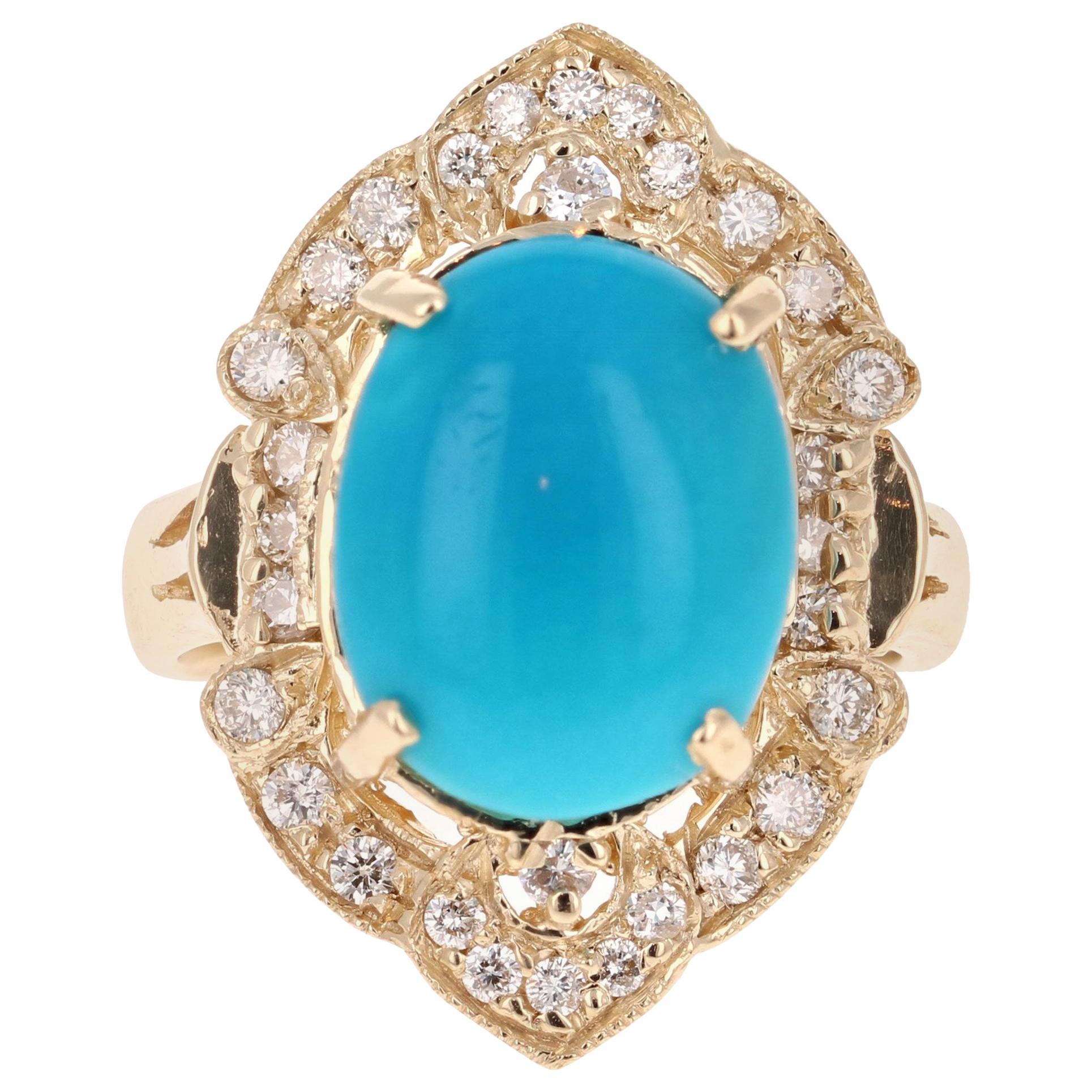 5.33 Carat Turquoise Diamond Yellow Gold Art Deco Style Ring