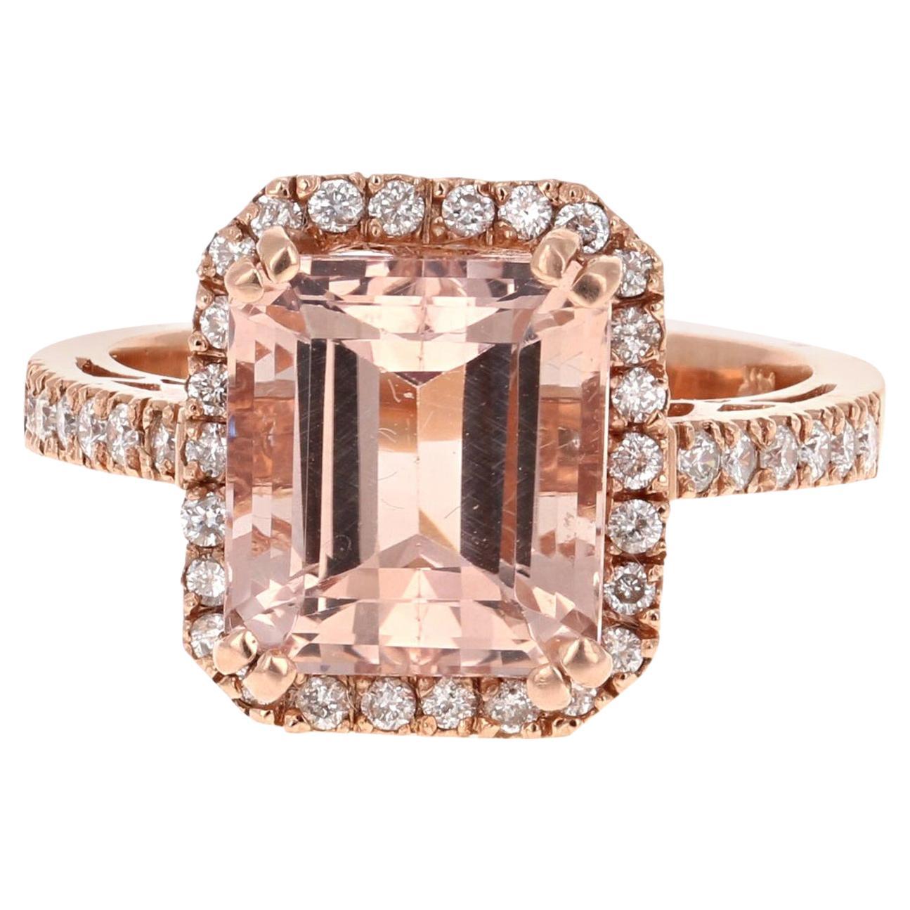 5.34 Carat Morganite Diamond Rose Gold Engagement Ring