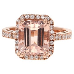 5.34 Carat Morganite Diamond Rose Gold Engagement Ring