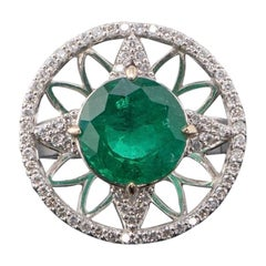 5.34 Carat Round Emerald and Diamond Cocktail Ring