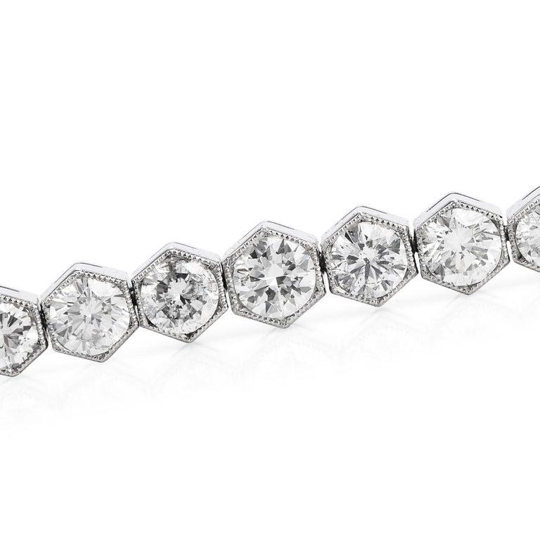 Art Deco 5.34 Carat Diamond Platinum Hexagon Line Tennis Bracelet For Sale