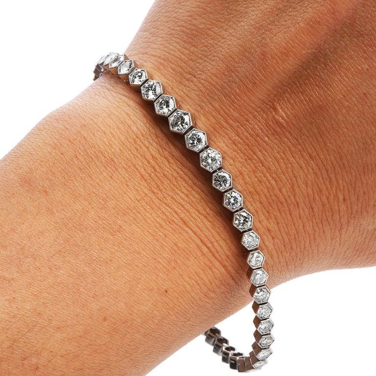 5.34 Carat Diamond Platinum Hexagon Line Tennis Bracelet In Excellent Condition For Sale In Miami, FL