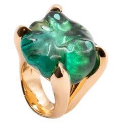 53.49 Carat Pink Gold Baroque-Cut Green Tourmaline Cocktail Ring