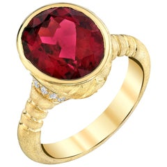 5.35 ct. Bezel Set Rubellite Tourmaline & Diamond 1k Yellow Gold Signet Ring