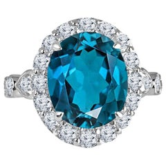 5.35 Carat Blue Topaz and 1.32 Carat Diamond Ring in 14 Karat Gold