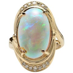 5.35 Carat Natural Ethiopian Opal and Diamond 14 Karat Solid Yellow Gold Ring