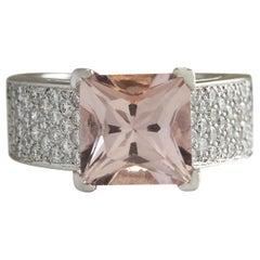 5.35 Carat Natural Morganite 18 Karat White Gold Diamond Ring