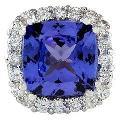 5.35 Carat Natural Tanzanite 18 Karat White Gold Diamond Ring