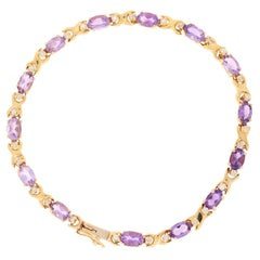 5.35 Carat Oval Cut Amethyst and Diamond Bracelet, 14 Karat Yellow Gold Link