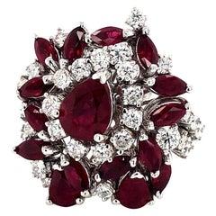 5.35 Carat Ruby and Diamonds Ring 18 Karat Gold