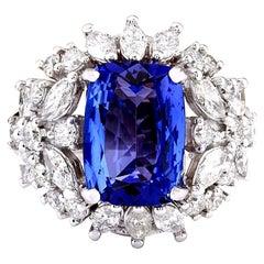 5.35 Carat Tanzanite 18 Karat Solid White Gold Diamond Ring