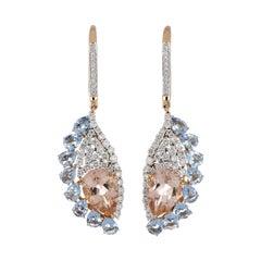 5.35 Carat Total Morganite and Aquamarine Earring with Diamonds in 18 Karat Gold
