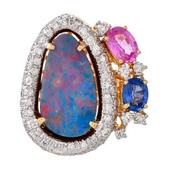 5.35 Carats Blue Opal Pink Sapphire Blue Sapphire And Diamonds 18kt Gold Ring