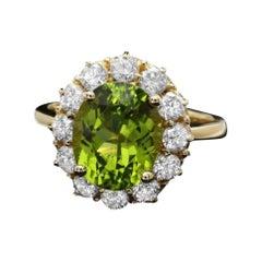 5.35 Carats Natural Peridot and Diamond 14k Solid Yellow Gold Ring