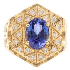 5.35 Carat Natural Tanzanite and Diamond 14 Karat Solid Yellow Gold Men's Ring