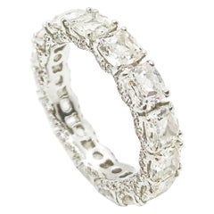 5.36 Carat Cushion Old Diamond Eternity Band by 64Facets in 18 Karat White Gold