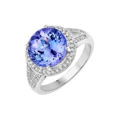 5.36 Carat Genuine Tanzanite and White Diamond 14 Karat White Gold Ring