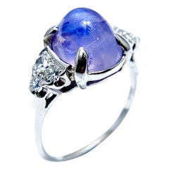 5.36 Carat Lavander Cabochon Sapphire and Diamond Cocktail Ring