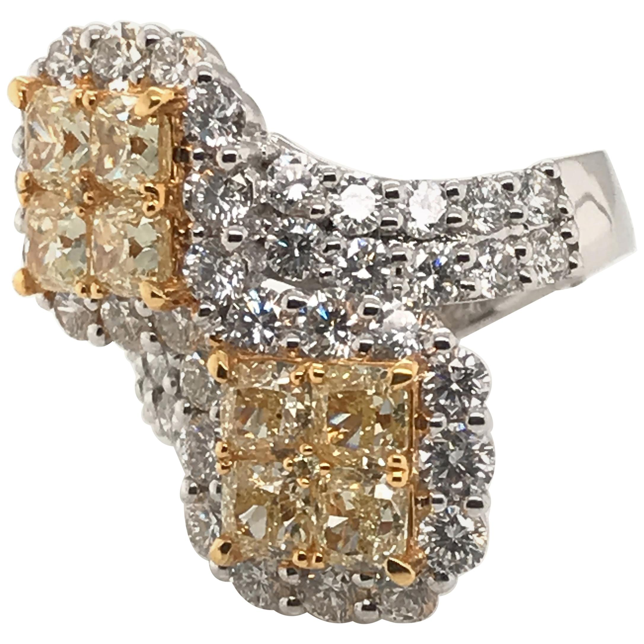 5.36 Carat Natural Yellow Diamond Princess Cluster with Rounds Diamond Ring
