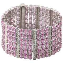 53.63 Carat Pink Sapphire and Diamond 14 Karat White Gold Plaque Bracelet