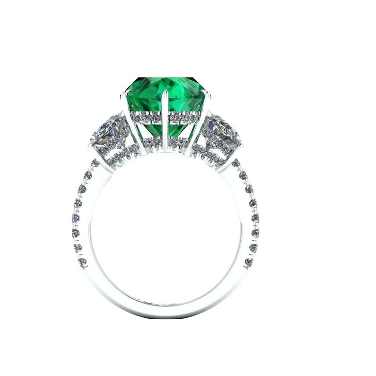 Oval Cut 5.37 Carat Oval Emerald 2 Carat Oval White Diamonds Platinum 950 Ring For Sale