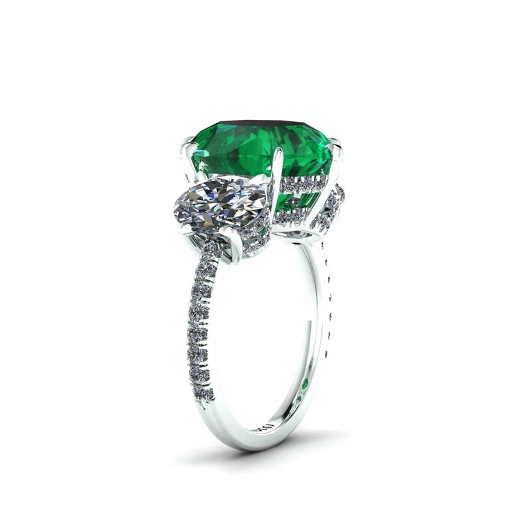 5.37 Carat Oval Emerald 2 Carat Oval White Diamonds Platinum 950 Ring In New Condition For Sale In Lake Peekskill, NY