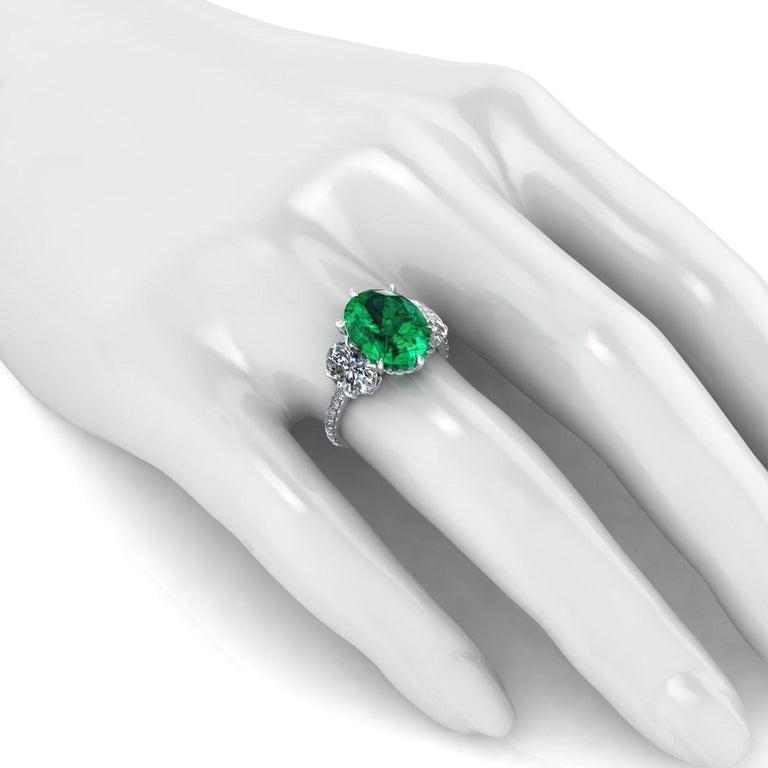 5.37 Carat Oval Emerald 2 Carat Oval White Diamonds Platinum 950 Ring For Sale 1