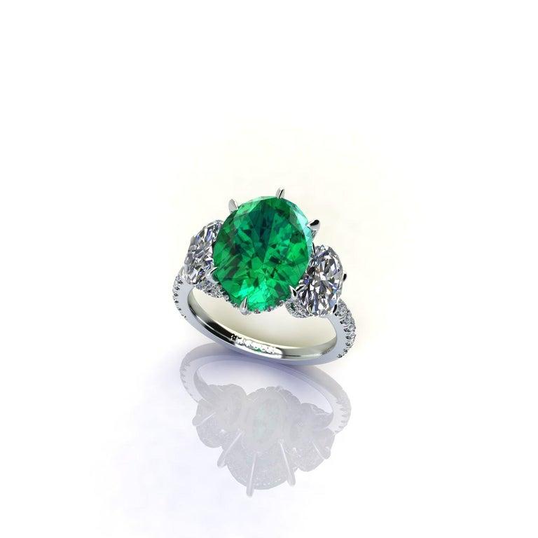 5.37 Carat Oval Emerald 2 Carat Oval White Diamonds Platinum 950 Ring For Sale 3