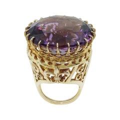 53.75 Carat Amethyst Vintage 14 Karat Gold Statement Ring Estate Fine Jewelry