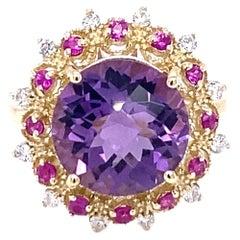 5.38 Carat Amethyst Pink Sapphire Diamond 14 Karat Yellow Gold Cocktail Ring