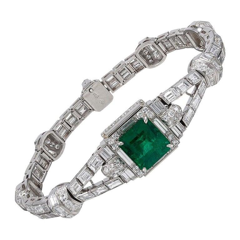 5.38 Carat Emerald and Diamond Bracelet For Sale