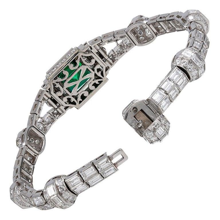 Baguette Cut 5.38 Carat Emerald and Diamond Bracelet For Sale
