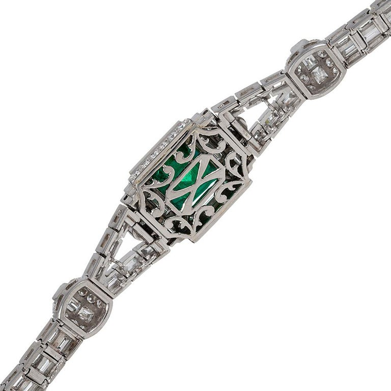 5.38 Carat Emerald and Diamond Bracelet In Good Condition For Sale In Carmel-by-the-Sea, CA