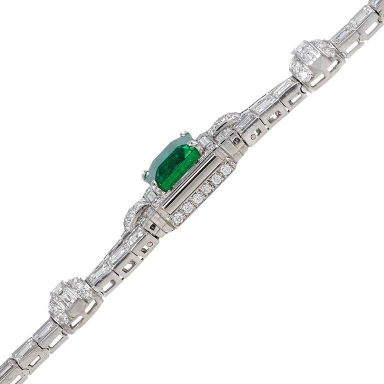 Women's 5.38 Carat Emerald and Diamond Bracelet For Sale