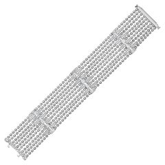 5.38 Carat Flapper Nine-Row Diamond Bracelet in 18 Karat White Gold