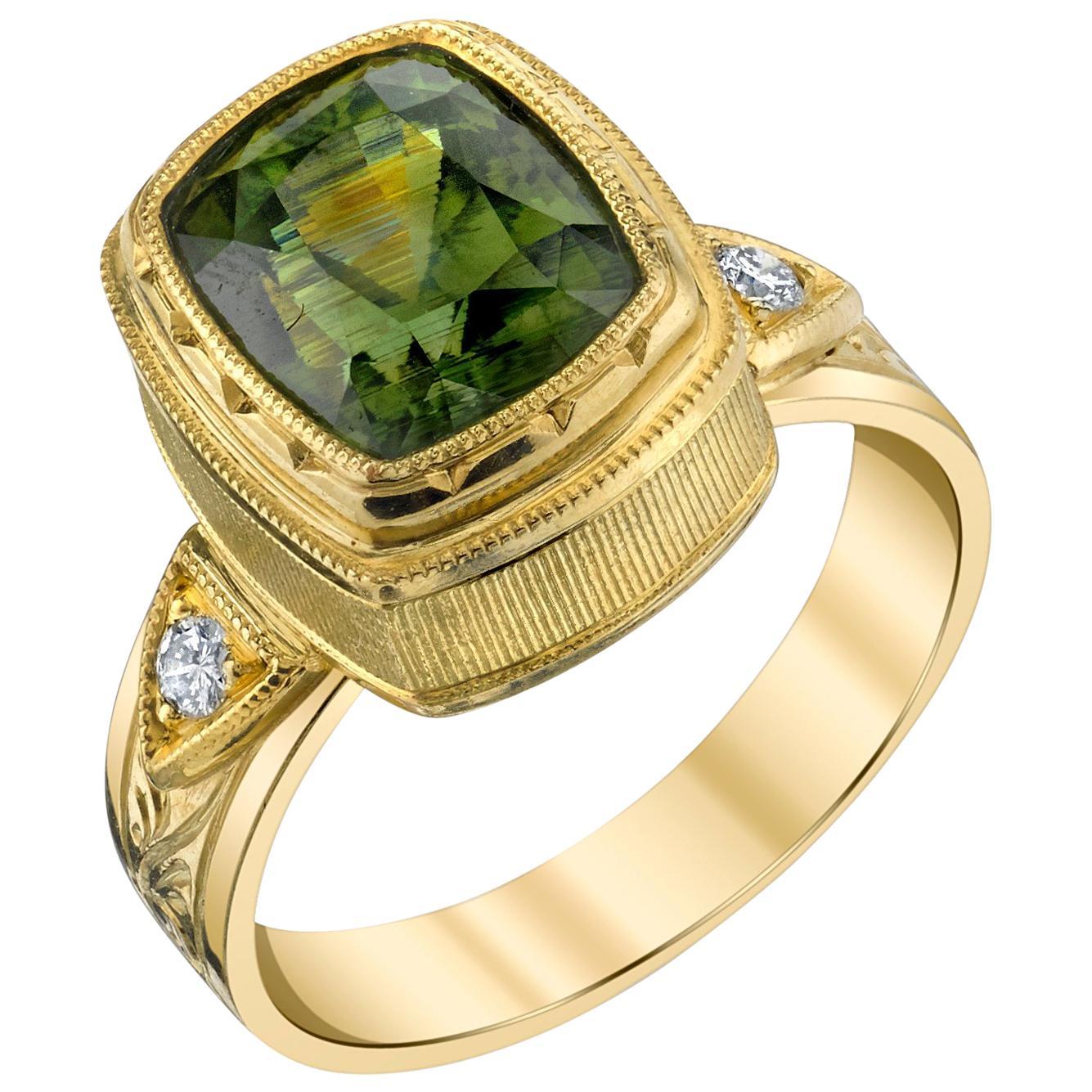 5.38 ct. Green Zircon Cushion, Diamond, Yellow Gold Bezel Engraved Band Ring