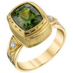5.38 ct. Green Zircon, Diamond 18k Yellow Gold Bezel Hand Engraved Band Ring
