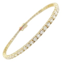 5.38 Carat Round Brilliant Cut Diamond Tennis Bracelet 14 Karat Yellow Gold