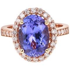 5.38 Carat Tanzanite Diamond Halo 14 Karat Rose Gold Ring