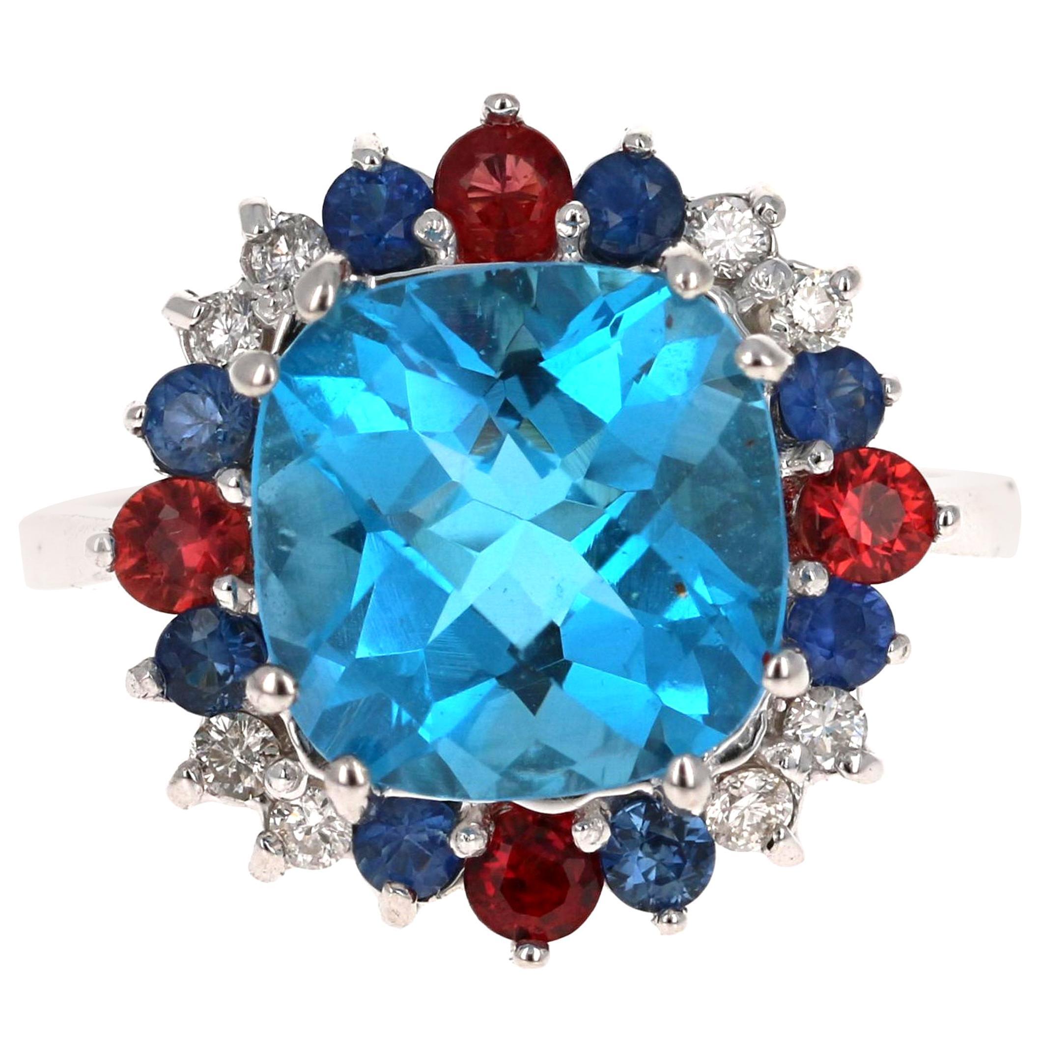 5.39 Carat Cushion Cut Blue Topaz Sapphire Diamond 14K White Gold Cocktail Ring