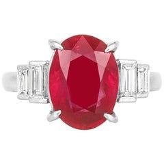 5.39 Carat Cushion Cut Ruby and Diamond Ring