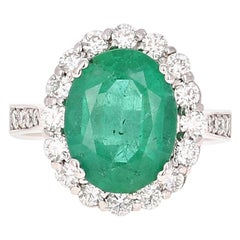 5.39 Carat Emerald Diamond White Gold Engagement Ring