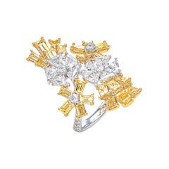 5.39 Carat Floral Wrap Fancy Yellow and White Diamond Ring in 18K Gold